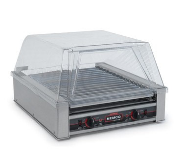 Nemco 8045SXN Roll-A-Grill Narrow Hot Dog Grill with 16 Gripslt Coated Rollers