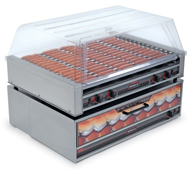 Nemco 8075SX Roll-A-Grill Hot Dog Grill with 16 Gripslt Coated Rollers