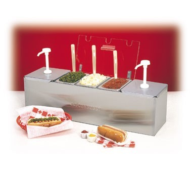 """Nemco 88100-CB-1 Stainless Steel Condiment Bar with Two 3 Qt. Pumps and 6.1 Qt. Condiment Pan 26"""""""