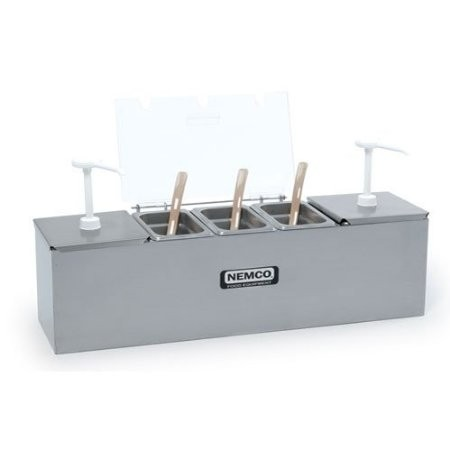 Nemco 88100-CB-2 Roll-A-Grill Condiment Station with Two 3 Qt. Pumps and 1.1 Qt. Condiment Trays