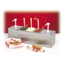 Nemco 88100-CB-3 Stainless Steel Condiment Bar with Two 3 Qt. Pumps and 0.6 Qt. Condiment Trays 26""