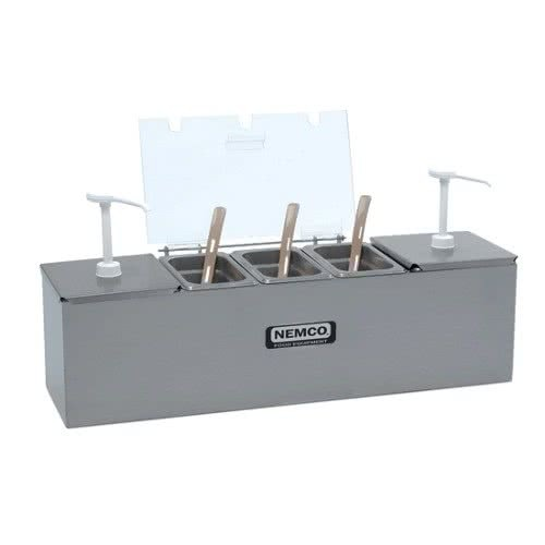 Nemco 88101-CB-1 Stainless Steel Condiment Bar with Two 1.5 Qt. Pumps and 1.1 Qt. Condiment Trays