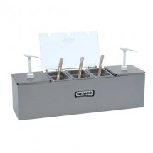 Nemco 88101-CB-1 Stainless Steel Condiment Bar with Two 1.5 Qt. Pumps and 1.1 Qt. Condiment Trays 24""