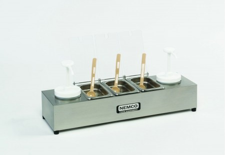 Nemco 88101-CB-2 Stainless Steel Condiment Bar with Two 1.5 Qt. Pumps and 0.6 Qt. Condiment Trays 24""