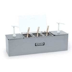 Nemco 88101-CB-2P Stainless Steel Condiment Bar with Two 1.5 Qt. Pumps, 0.6 Qt. Condiment Trays, and Two Ice Packs 24""