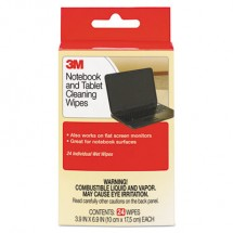 """3M Notebook Screen Cleaning Wet Wipes, Cloth, 7"""" x 4"""", 24/Pack"""