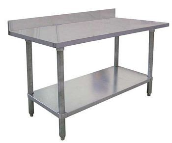 "Omcan (FMA) 22084 Stainless Steel Work Table with 4"" Backsplash 84"" W x 24"" D"