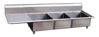 Omcan (FMA) 22115 Three Compartment Pot Sink with Left Drain Board