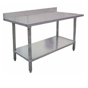"Omcan (FMA) 23803 Elite Series Work Table with 4"" Backsplash 48"" W x 30"" D"