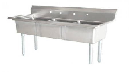 Omcan (FMA) 25259 Three Compartment Pot Sink with Left Drain Board