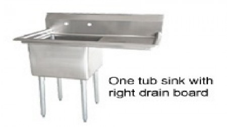 Omcan (FMA) 25264 One Compartment Pot Sink with Right Drain Board