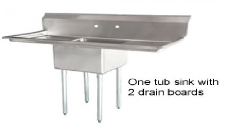 Omcan (FMA) 25265 One Compartment Pot Sink with Left and Right Drain Boards