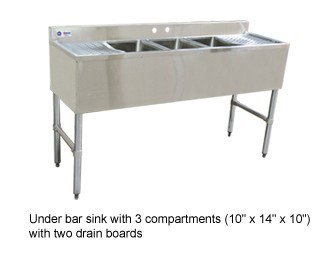 Omcan (FMA) 25274 Three Compartment Underbar Sink with Left and Right Drain Boards