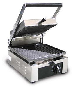 """Omcan (FMA) 11375 Single Panini Grill with Grooved Top and Bottom 10"""" x 9"""""""