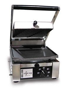 "Omcan (FMA) 11376 Single Panini Grill with Grooved Top and Flat Bottom 10"" x 9"""