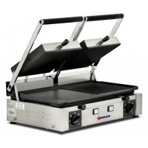 "Omcan (FMA) 11380 Double Panini Grill with Ribbed Top and 1/2 Smooth and Ribbed Bottom 10"" x 19"""