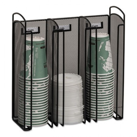 Safco Onyx 3 Compartment Black Mesh Cup and Lid Organizer