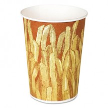 Paper French Fry Cups, 12 oz,Yellow/Brown Fry Design, 1000/Crtn