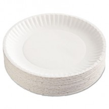 """Uncoated White Paper Plates, 9"""", 100/Pack"""