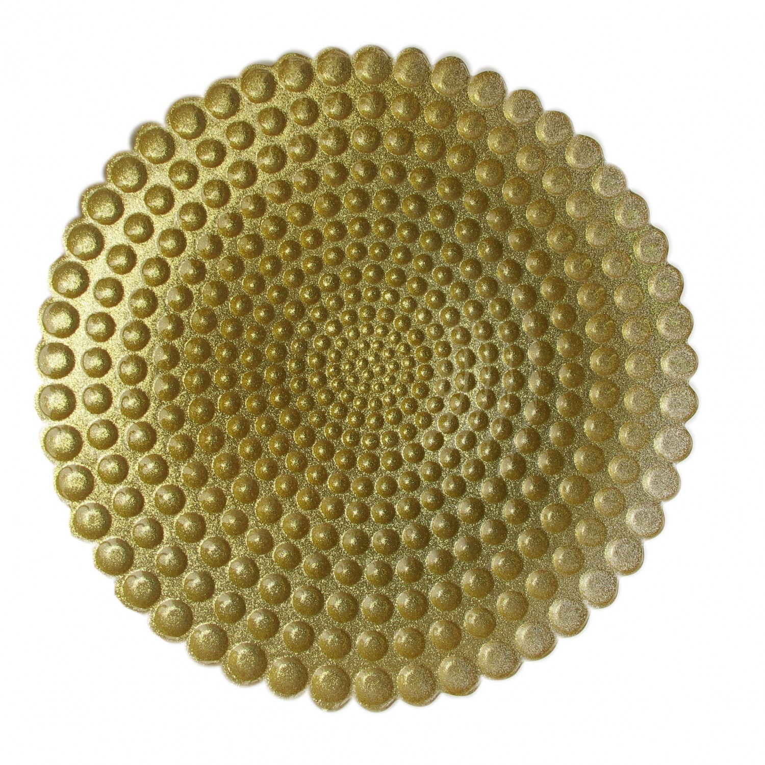 The Jay Companies 1900054 Round Pearl Gold Glass Charger Plate 13""
