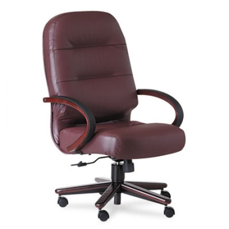 Pillow-Soft 2190 Series Executive High-Back Chair, Supports up to 250 lbs., Burgundy Seat/Burgundy Back, Mahogany Base