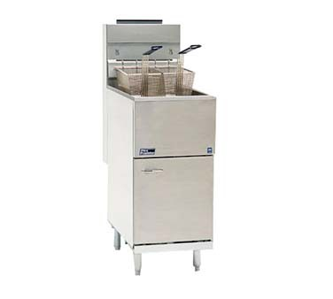 Pitco 35C+S Economy Gas Fryer 35 Lb. Oil Capacity 90,000 BTU Stainless Steel Tank, Door and Front