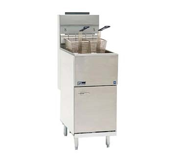 Pitco 45C+S Economy Gas Fryer 42 - 50 Lb. Oil Capacity 122,000 BTU Stainless Steel Tank, Door and Front