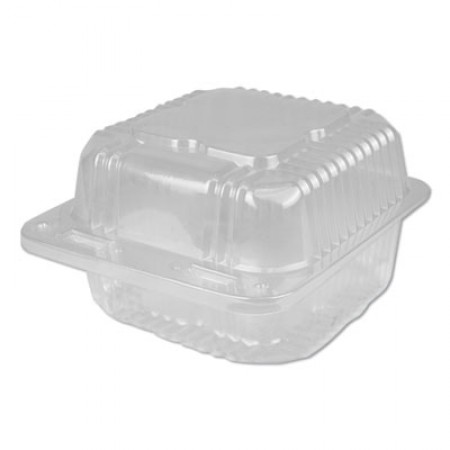 Plastic Clear Hinged Containers, 5 x 5, 12 oz, Clear, 500/Carton