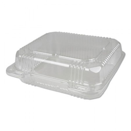 Plastic Clear Hinged Containers, 8 x 8, 50 oz., Clear, 250/Carton