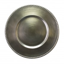 """The Jay Companies A214SR Round Platinum Rope Rim Charger Plate 13"""""""