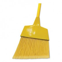 """Poly Fiber Angled-Head Lobby Brooms, 55"""", Yellow Lacquered Wood Handle, 12/Carton"""