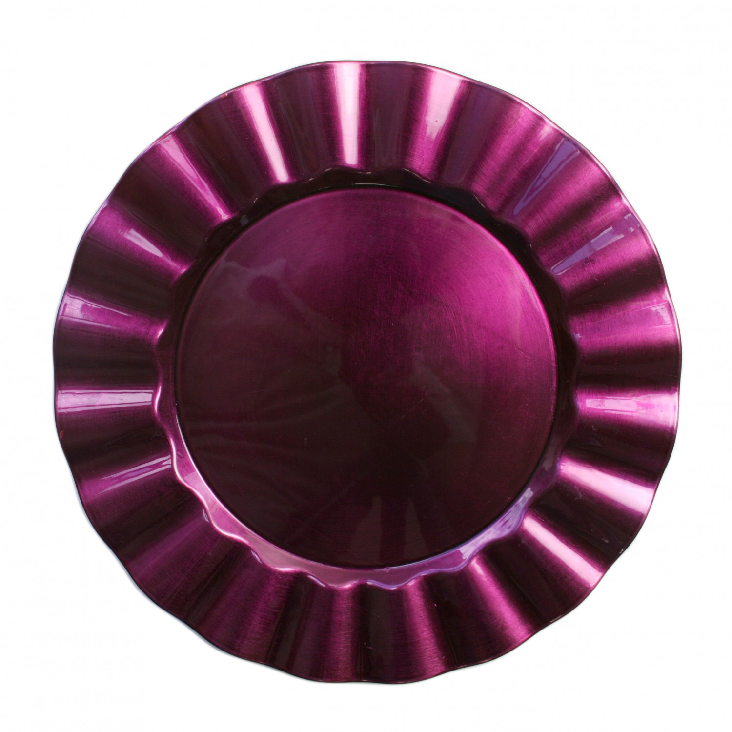 The Jay Companies 1183060 Round Purple Ruffled Rim Charger Plate 13""