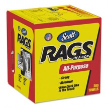 Scott All Purpose Rags-In-A-Box, 1-Ply, Pop-Up Box, 8 Boxes/Carton