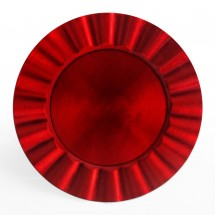 The Jay Companies 1183059 Round Red Ruffled Rim Charger Plate 13""