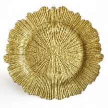 The Jay Companies 1470110 Round Reef Gold Glass Charger Plate 13""