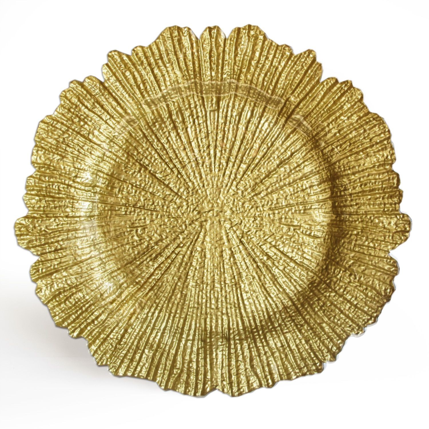 """The Jay Companies 1470110 Round Reef Gold Glass Charger Plate 13"""""""