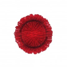 The Jay Companies 1470110-RD Round Reef Red Glass Charger Plate 13""