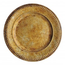 The Jay Companies 1320375 Round Beaded Antique Gold Charger Plate 14""