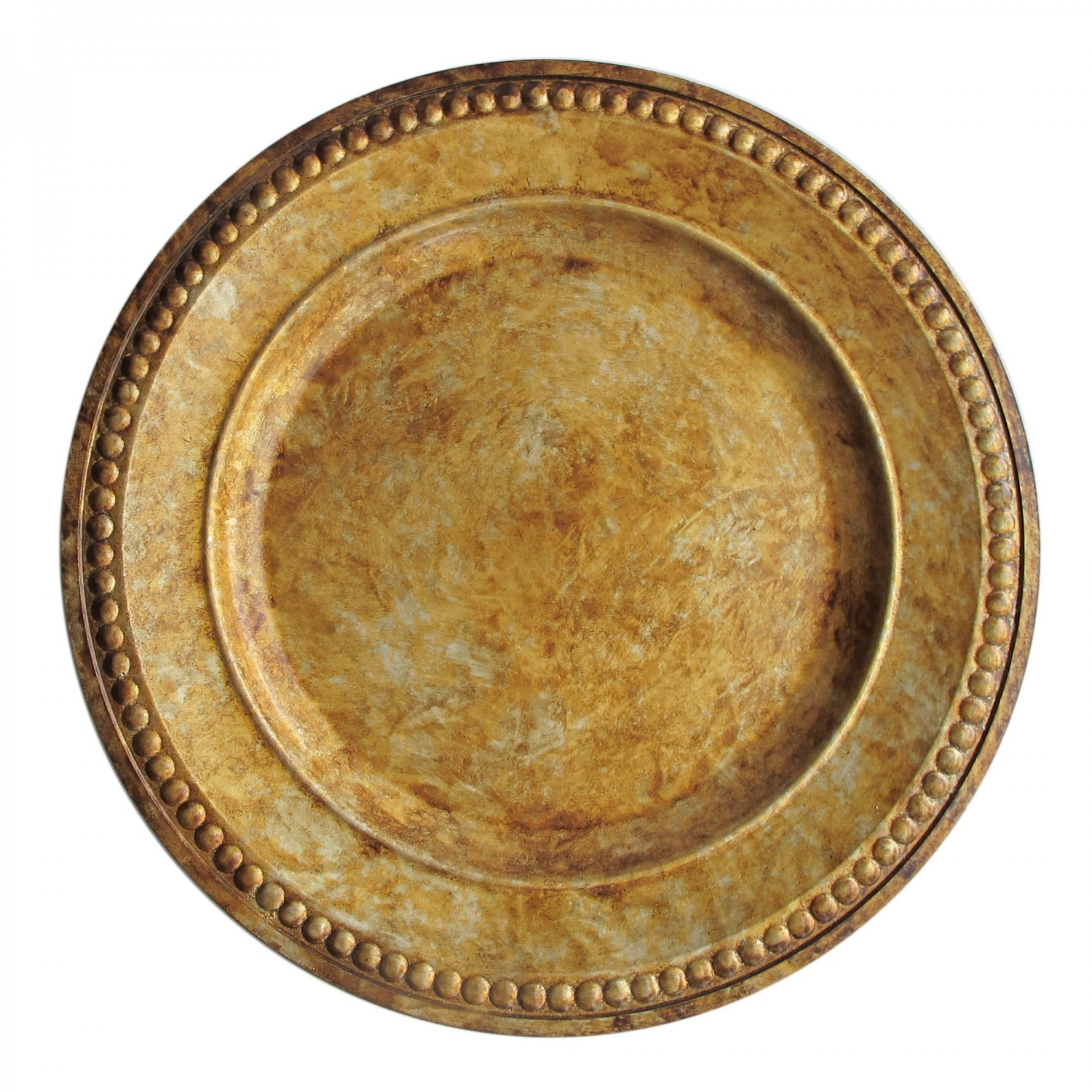 The Jay Companies 1320375 Round Beaded Antique Gold Charger Plate 14&