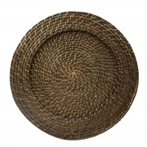 The Jay Companies 1660149 Round Brick Brown Rattan Charger Plate 13""