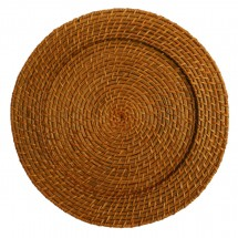 """The Jay Companies 1660150 Round Honey Rattan Charger Plate 13"""""""