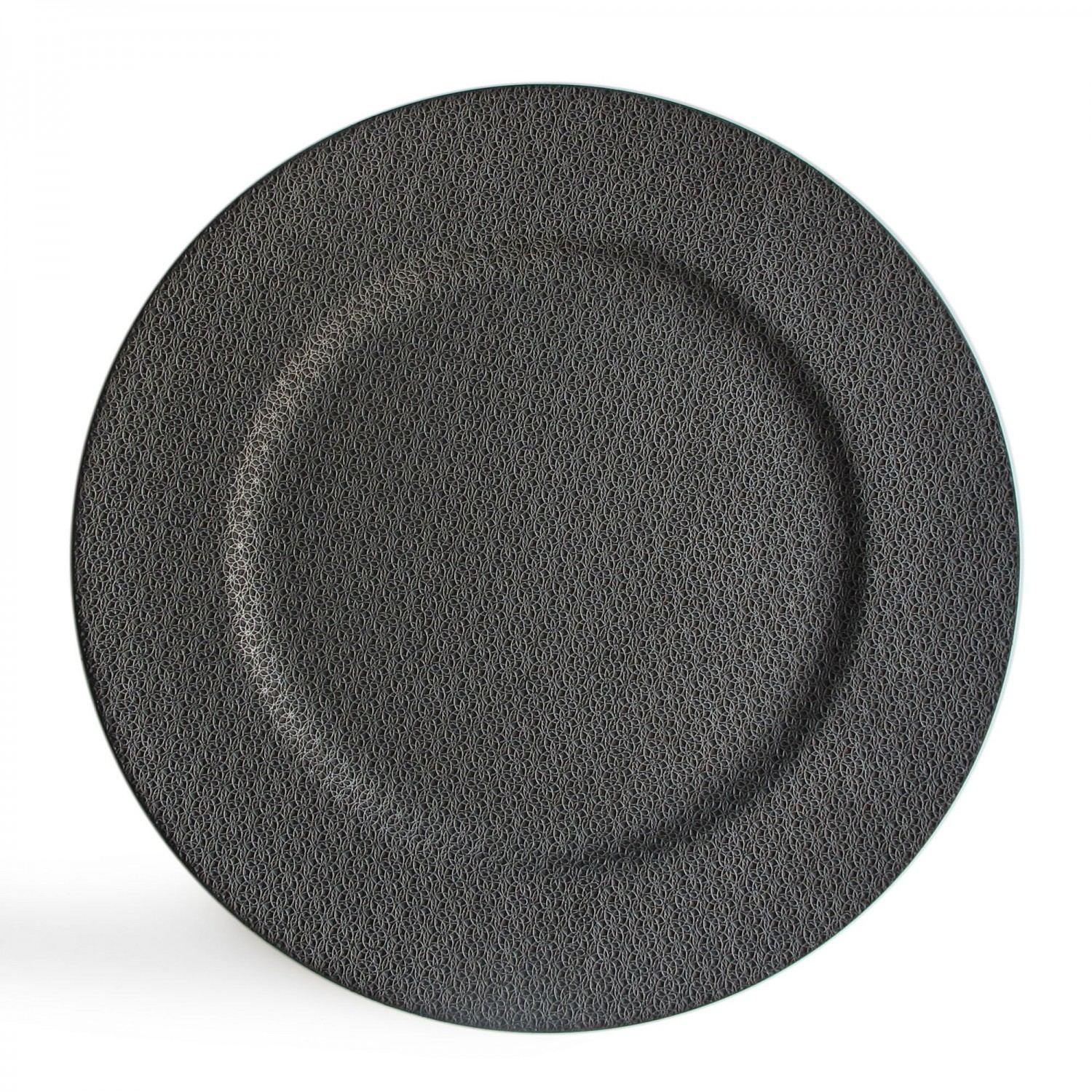 The Jay Companies 1320382 Round Textured Ash Gray Charger Plate 14""
