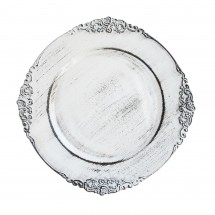 The Jay Companies 1180257-WH Round Royal Antiqued White Charger Plate 13""