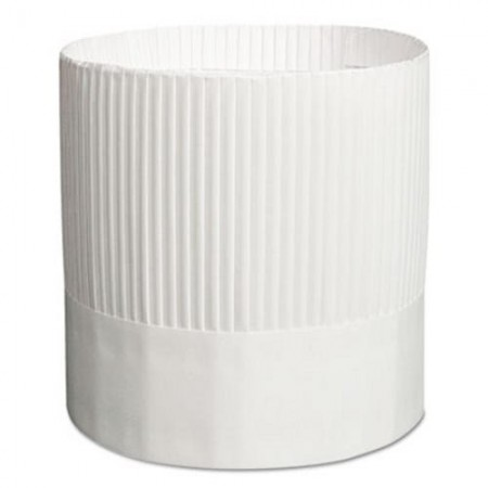 """Royal Fluted White Paper Chef's Hat, Adjustable, 7"""" Tall, 15/Carton"""