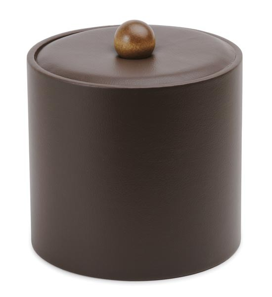 Royal IBUK DRK BRN Dark Brown Vinyl Insulated Ice Bucket 3 Qt. - 1 doz