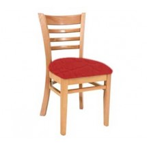 Royal Industries ROY 8001 N Ladder Back Wood Chair with Natural Finish and Upholstered Seat