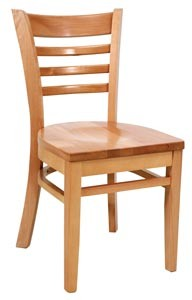 Royal Industries ROY 8001 N Ladder Back Wood Chair With Natural Finish Seat