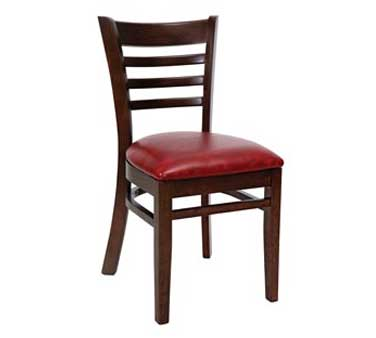 Royal Industries ROY 8001 W Ladder Back Beechwood Chair with Walnut Finish and Upholstered Seat