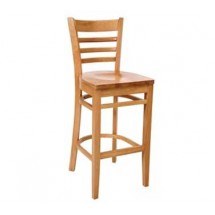 Royal Industries ROY 8002 N Ladder Back Beechwood Bar Stool with Natural Finish and Hardwood Seat