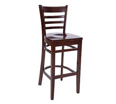 Royal Industries ROY 8002 W Ladder Back Beechwood Bar Stool with Walnut Finish and Hardwood Seat